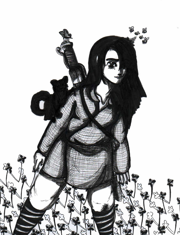 Chihaya from Dragon Sword and Wind Child stands amid the flowers and small animals of the fields and mountains caring the Dragon Sword across his back