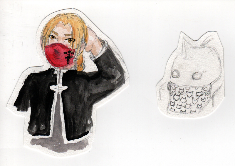 Two cut out drawings of Edward and Alphonse Elric wearing face masks from the manga Fullmetal Alchemist