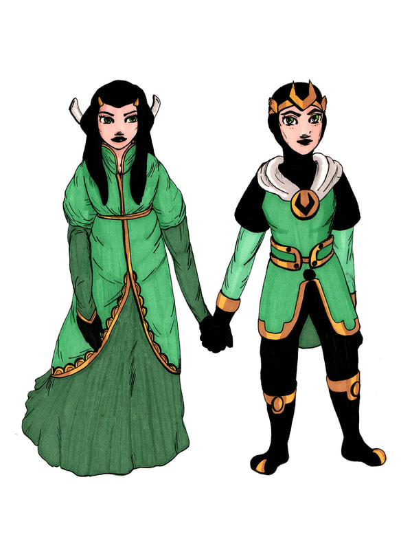 The Marvel Universe's Kid Loki and his BF the hand maiden Leah clasp hands in matching green costumes