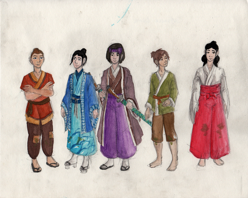Five figures in 16th century Japanese dress