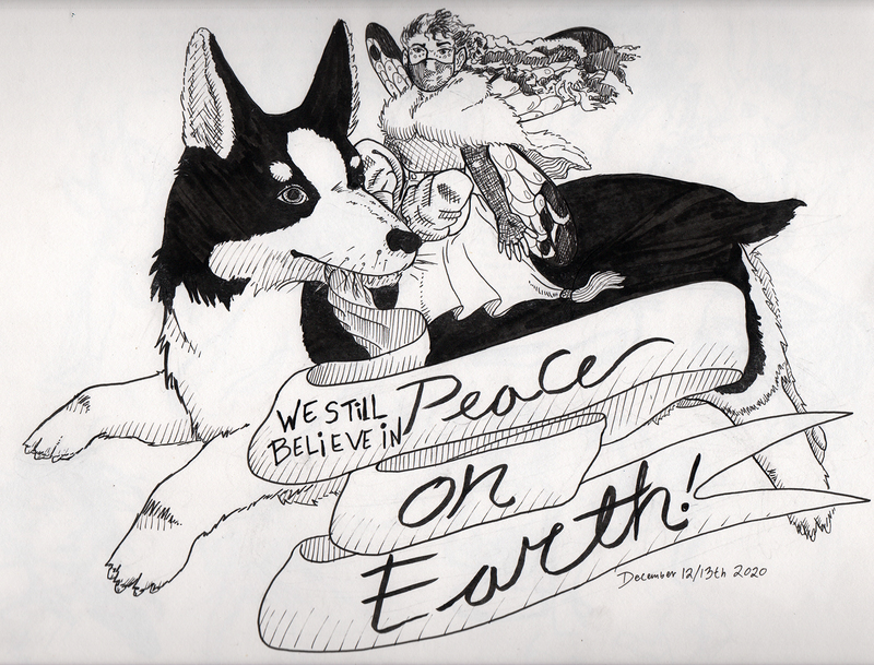 "A masked fairy rides on a dog carrying a banner with the caption ""we still believe in peace on earth"""