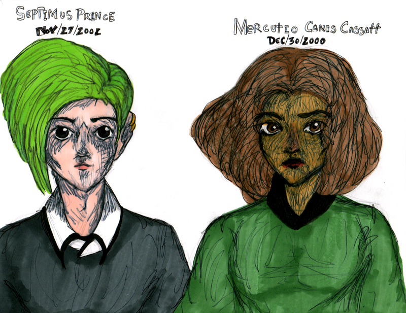 Design portraits for wizards and students Septimus Prince and Mercutio Canis Cassatt